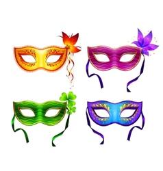 Colorful carnival masks set vector image