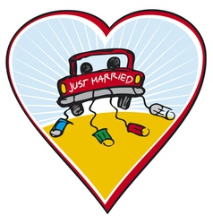 just married on car driving vector image vector image