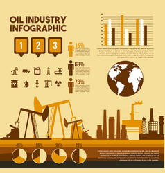 Oil industry infographic process factory steps vector