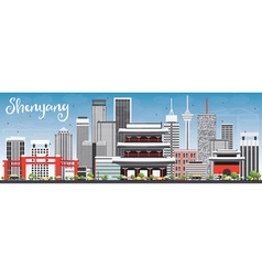 Shenyang Skyline with Gray Buildings vector image vector image