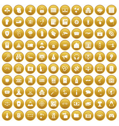 100 hacking icons set gold vector image