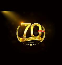 70 years anniversary with laurel wreath golden vector image