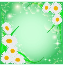 green background with daisies and stars vector image vector image