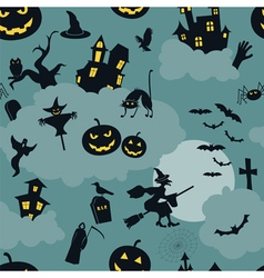Halloween seamless patterns Holiday design vector image