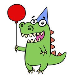 happy birthday greeting dragon vector image vector image