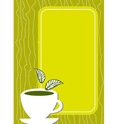 Lemon tea Menu cover with cup and leaves vector image