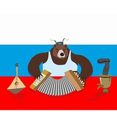 Russian bear plays accordion Russian flag Samovar vector image vector image