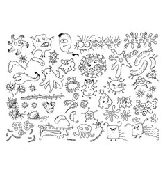 set of doodle bacteria germs or cartoon monsters vector image vector image