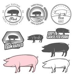 Set of pork labels badges and design elements vector image