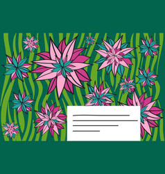 template for greeting card with flowers vector image vector image