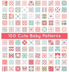 100 Cute baby seamless pattern Retro pink white vector