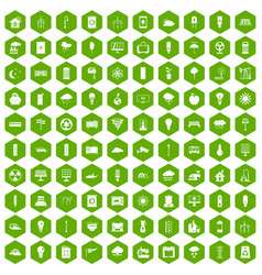 100 windmills icons hexagon green vector
