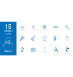 15 stamp icons vector