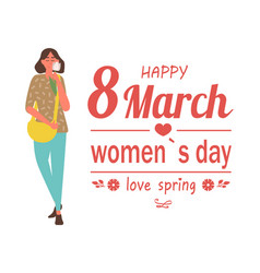8 march happy womens day love spring poster vector image