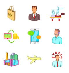 Advanced translation icons set cartoon style vector
