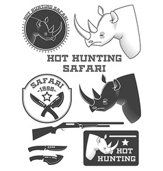 African hunter safari labels rhinoceros emblems vector