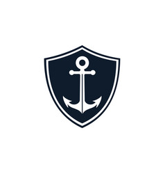 anchor shield logo template vector image