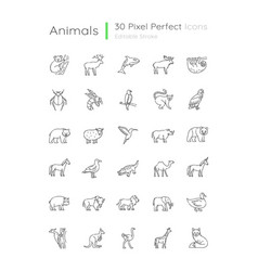 Animals pixel perfect linear icons set vector