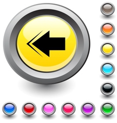 Back arrow round button vector image