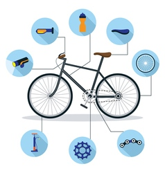 Bicycle and Parts Objects Flat Icons Infographic vector