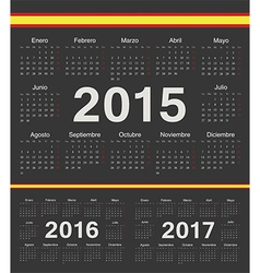 Black spanish circle calendars 2015 2016 2017 vector