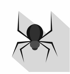 Black spider icon flat style vector