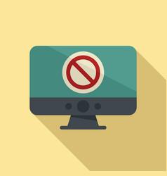 Blocked pc icon flat access block vector