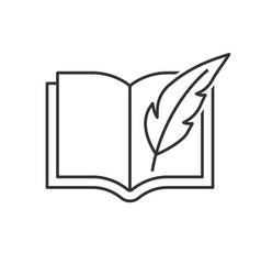 book with feather pen vector image