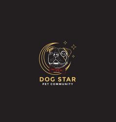 Bulldog pet community logo design vector