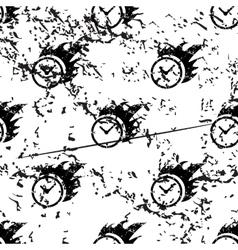Burning clock pattern grunge monochrome vector