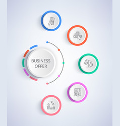 Business offer set of icons growing income credit vector