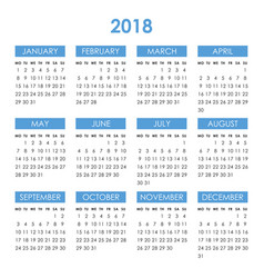 Calendar for 2018 year vector