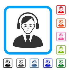 call center operator framed sad icon vector image