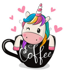 Cartoon unicorn is sitting in a cup coffee vector