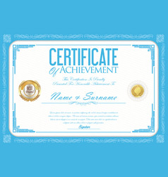 certificate or diploma retro design template 7 vector image