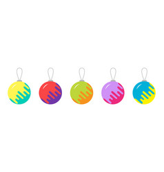 christmas ball set line happy new year white vector image