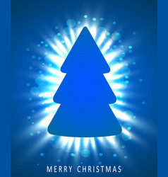 christmas tree made of blue paper on blue vector image