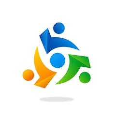 circle people group teamwork logo vector image