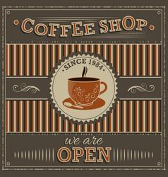 Coffee shop vintage label with orange cup of vector