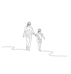 continuous one line mother and daughter walking vector image