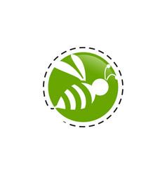 Creative circle bee hornet logo design silhouette vector