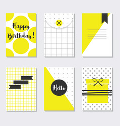 Cute assorted yellow and white trendy patterns vector