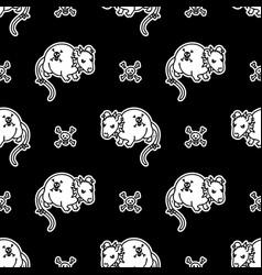 Cute punk rock rat monochrome lineart on black vector