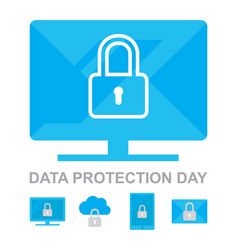 Data privacy day 26 january icons collection vector