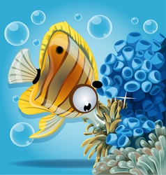 Discus fish on a blue background with anemones vector