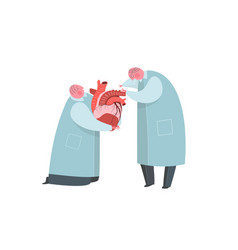 doctors or scientist working on heart vector image