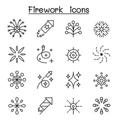 Firework icon set in thin line style vector