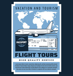 Flight tours vacation boarding pass and tickets vector