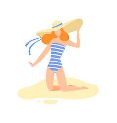 Girl in striped swimsuit and straw hat on sitting vector