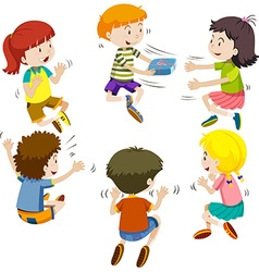 Group of kids passing present box vector